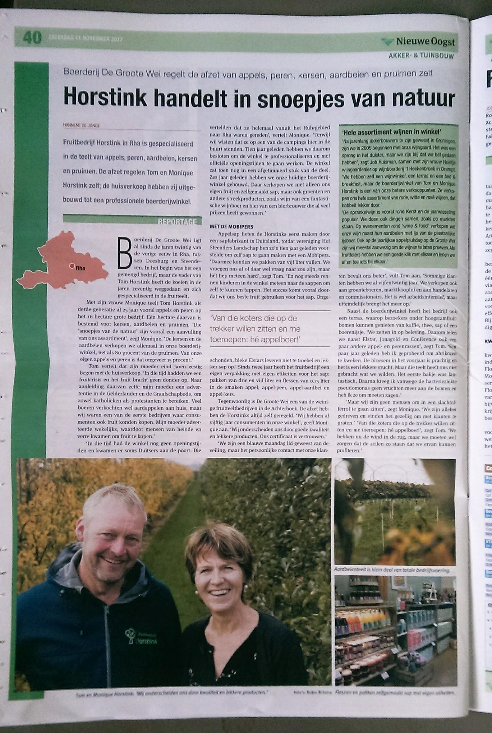 Tom en Monique Horstink in vakblad de Nieuwe Oogst
